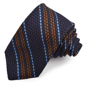 Navy, Brown, and French Blue Stripe Garza Grossa Grenadine Italian Silk Tie by Dion Neckwear