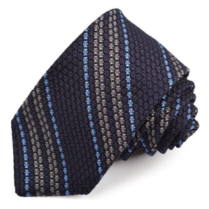 Navy, Grey, and French Blue Stripe Garza Grossa Grenadine Italian Silk Tie by Dion Neckwear