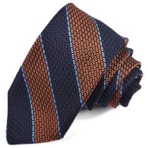 Navy, Orange, and French Blue Bar Rep Stripe Garza Grossa Grenadine Italian Silk Tie by Dion Neckwear