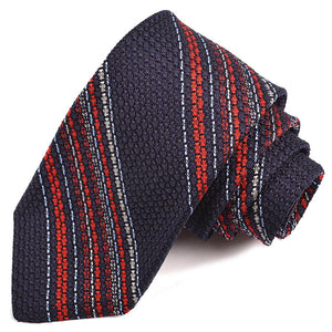 Navy, Red, Sky, and Silver Multi Bar Stripe Garza Grossa Grenadine Italian Silk Tie by Dion Neckwear
