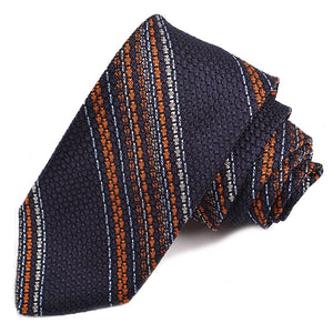 Navy, Orange, Sky, and Silver Multi Bar Stripe Garza Grossa Grenadine Italian Silk Tie by Dion Neckwear