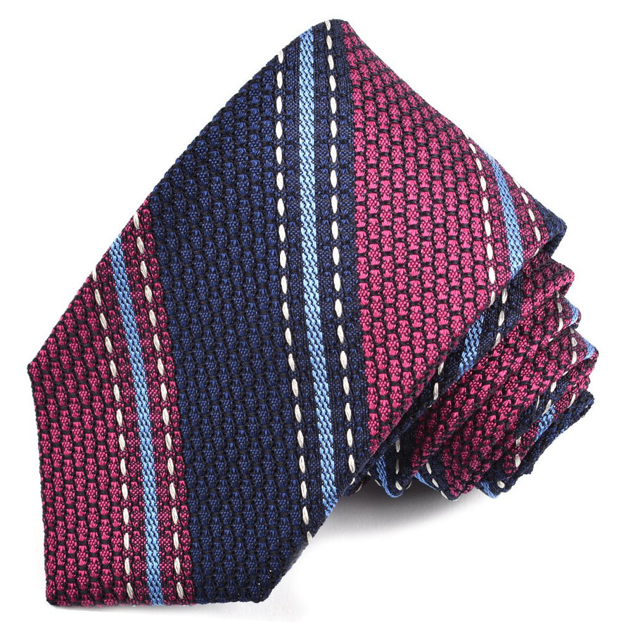 Navy, Berry, and Sky Triple Fine Bar Stripe Garza Grossa Grenadine Italian Silk Tie by Dion Neckwear