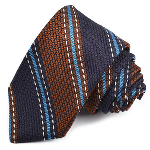 Navy, Tobacco, and Teal Triple Fine Bar Stripe Garza Grossa Grenadine Italian Silk Tie by Dion Neckwear