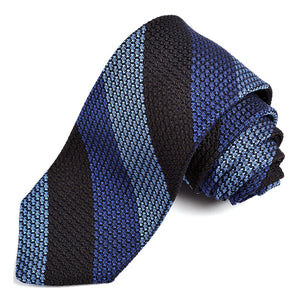 Black, Royal, and French Blue Double Bar Stripe Grand Grenadine Italian Silk Tie by Dion Neckwear