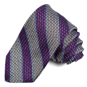 Purple, Silver, and Sky Thick Border Stripe Grand Grenadine Italian Silk Tie by Dion Neckwear