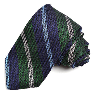 Navy, Forest, Sky, and Silver Bold Bar Stripe Grand Grenadine Italian Silk Tie by Dion Neckwear