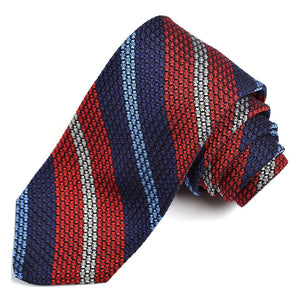 Navy, Red, Sky, and Silver Bold Stripe Grand Grenadine Italian Silk Tie by Dion Neckwear