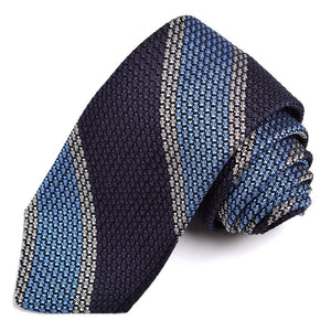 Navy, French Blue, and Silver Bold Bar Stripe Grand Grenadine Italian Silk Tie by Dion Neckwear