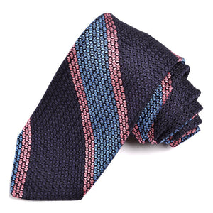 Navy, French Blue, and Pink Bold Bar Stripe Grand Grenadine Italian Silk Tie by Dion Neckwear