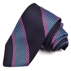 Navy, French Blue, and Lavender Bold Bar Stripe Grand Grenadine Italian Silk Tie by Dion Neckwear