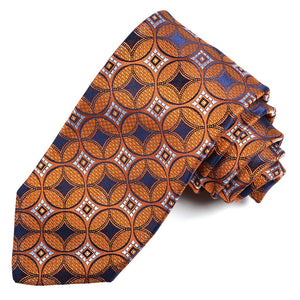 Orange, Navy, and Sky Medallion Links Woven Jacquard Silk Tie by Dion Neckwear