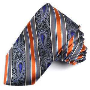 Grey, Cognac, and Purple Teardrop Paisley Stripe Silk Woven Jacquard Tie by Dion Neckwear