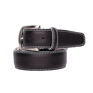 French Pebble Grain Calf Belt in Black with White Stitching by L.E.N. Bespoke