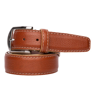 French Pebble Grain Calf Belt in Cognac with Beige Stitching by L.E.N. Bespoke