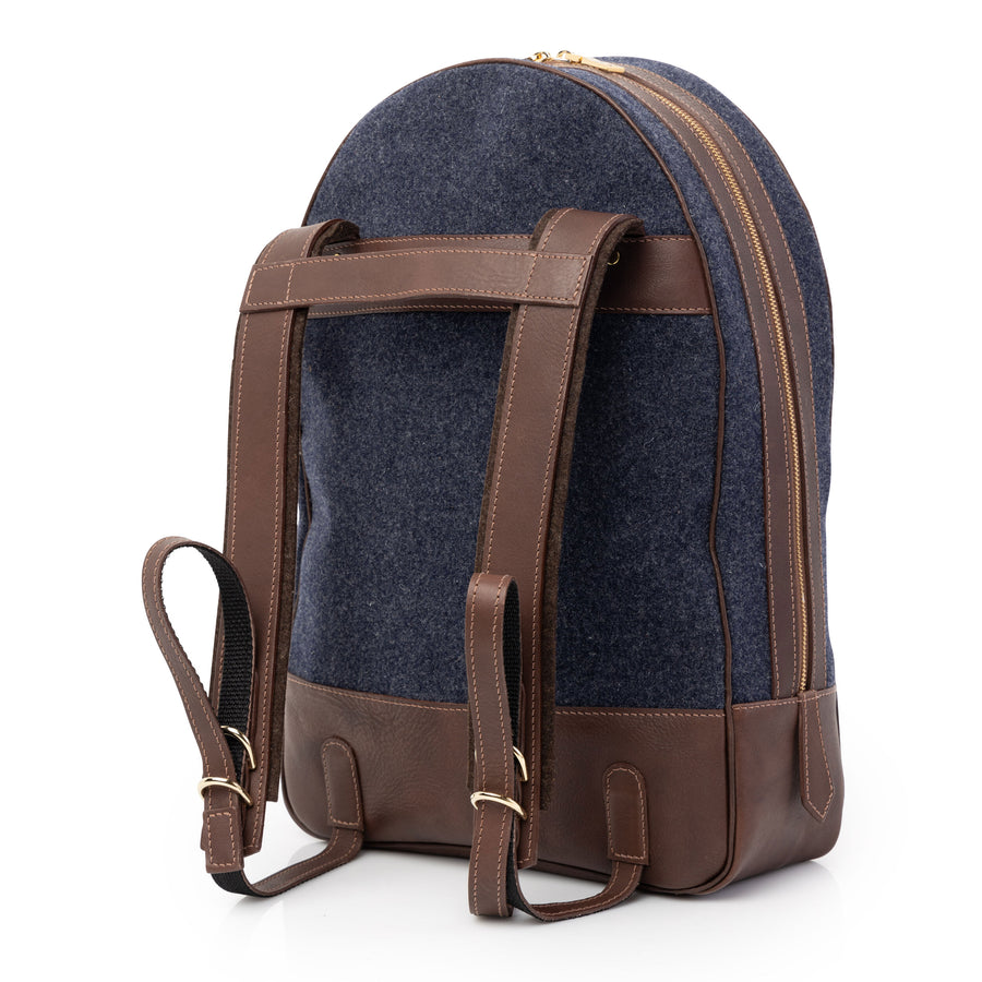 Wool & Leather Back Pack in Heather Blue by L.E.N. Bespoke