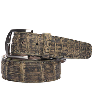 Two-Tone Nile Crocodile Belt in Khaki by L.E.N. Bespoke