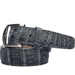 Two-Tone Nile Crocodile Belt in Steel by L.E.N. Bespoke