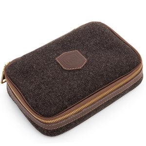 Wool & Leather Golf Ball Caddie & Toiletry Case in Heather Brown by L.E.N. Bespoke