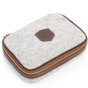 Wool & Leather Golf Ball Caddie & Toiletry Case in Oxford Grey by L.E.N. Bespoke