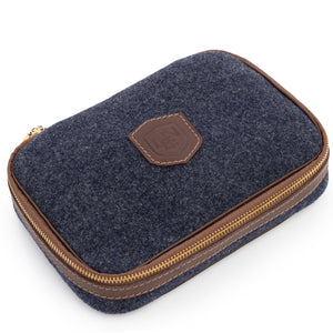 Wool & Leather Golf Ball Caddie & Toiletry Case in Heather Blue by L.E.N. Bespoke