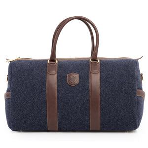 Wool & Leather Duffel Bag in Heather Blue by L.E.N. Bespoke