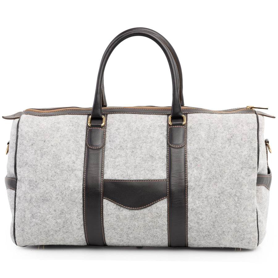 Wool & Leather Duffel Bag in Oxford Grey by L.E.N. Bespoke