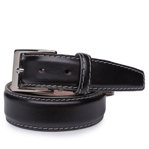 French Calf Belt in Black with Grey Stitching by L.E.N. Bespoke
