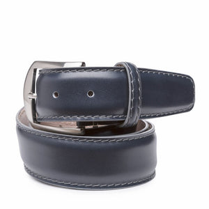 French Calf Belt in Navy with Grey Stitching by L.E.N. Bespoke