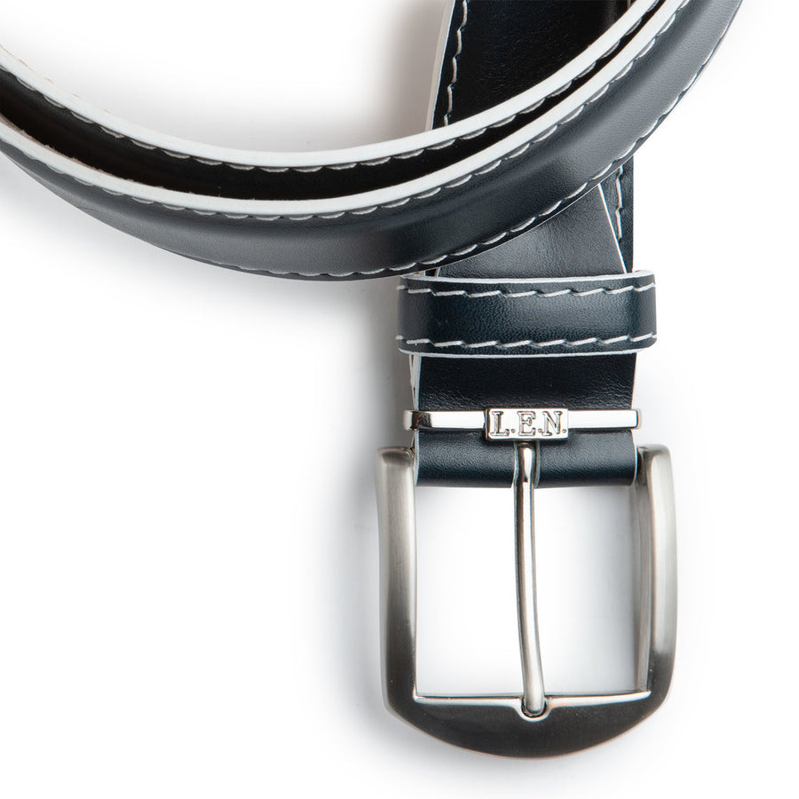 French Calf Belt in Navy with White Stitching by L.E.N. Bespoke