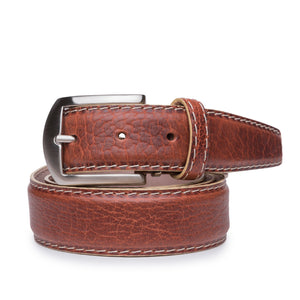 American Bison Belt in Cognac with Beige Stitching by L.E.N. Bespoke