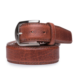 American Bison Belt in Cognac with Cognac Stitching by L.E.N. Bespoke