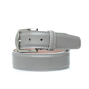Italian Calf Belt in Grey with White Stitching by L.E.N. Bespoke