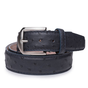 Genuine Ostrich Belt in Navy by L.E.N. Bespoke