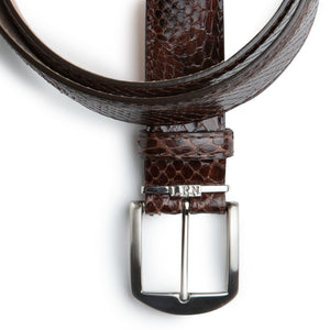 Genuine Python Belt in Brown by L.E.N. Bespoke