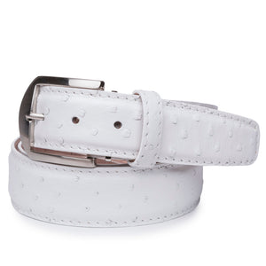 Genuine Ostrich Belt in White by L.E.N. Bespoke