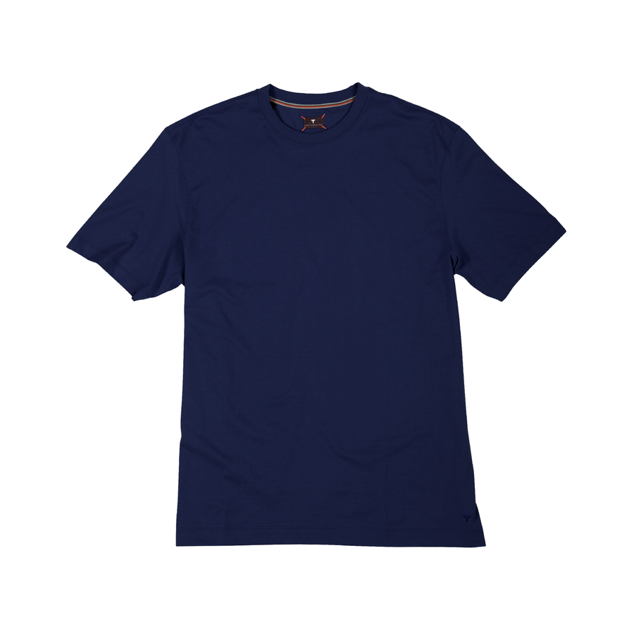 Crew Neck Peruvian Cotton Tee Shirt in Navy by Left Coast Tee