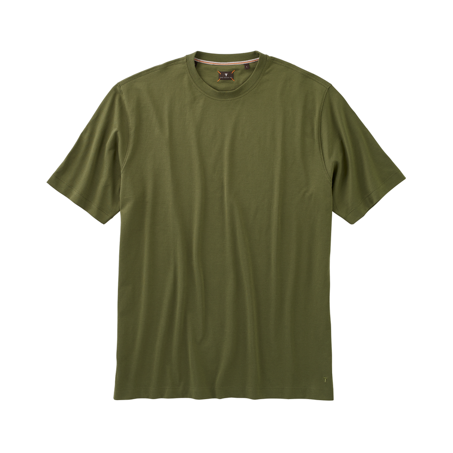Crew Neck Peruvian Cotton Tee Shirt in Olive by Left Coast Tee