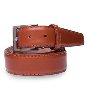 French Calf Belt in Cognac with Cognac Stitching by L.E.N. Bespoke
