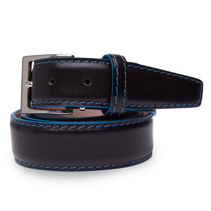 French Calf Belt in Black with Denim Stitching by L.E.N. Bespoke