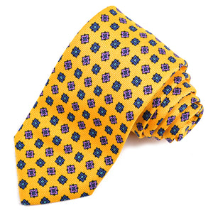 Yellow, Black, and Purple Geometric Medallion Printed Saglione Silk Tie by Dion Neckwear