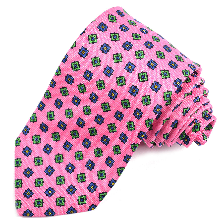 Pink, Navy, and Green Geometric Medallion Printed Saglione Silk Tie by Dion Neckwear