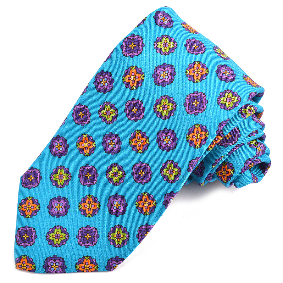 Teal, Purple, Orange, and Green Medallion Printed Irish Silk and Wool Poplin Tie by Dion Neckwear