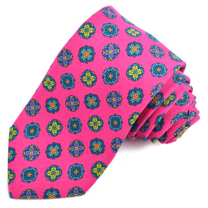 Pink, Teal, Green, and Purple Medallion Printed Irish Silk and Wool Poplin Tie by Dion Neckwear
