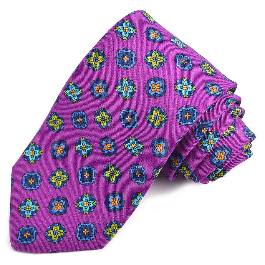 Purple, Teal, Green, and Orange Medallion Printed Irish Silk and Wool Poplin Tie by Dion Neckwear