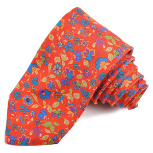 Red, Purple, and French Blue Cluster Floral Printed Panama Silk Tie by Dion Neckwear