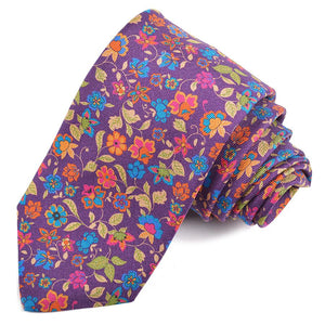 Purple, Orange, Pink, and Teal Cluster Floral Printed Panama Silk Tie by Dion Neckwear