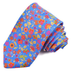 Royal, Red, Orange, and Green Cluster Floral Printed Panama Silk Tie by Dion Neckwear