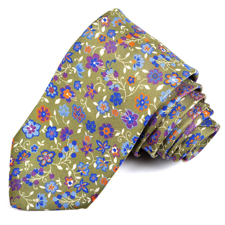 Green, French Blue, and Purple Vine Floral Printed Panama Silk Tie by Dion Neckwear