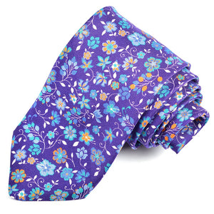 Purple, French Blue, and Teal Vine Floral Printed Panama Silk Tie by Dion Neckwear
