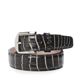 Two-Tone Nile Crocodile Belt in Black and White by L.E.N. Bespoke